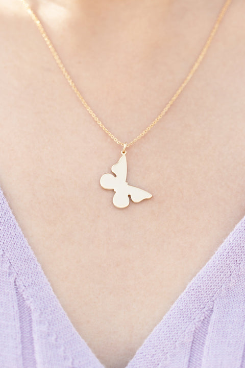 Breeze Butterfly Necklace - ethically handcrafted necklace in gold and silver that give back to nonprofit - International Sanctuary