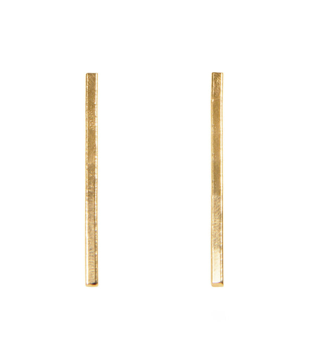 Brenn Earrings - Ethically Handcrafted Brass Vertical Bar Earrings that give back to non-profit