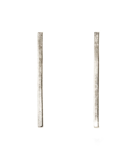 Brenn Earrings - Ethically Handcrafted Silver Vertical Bar Earrings that gives back to survivors of human trafficking