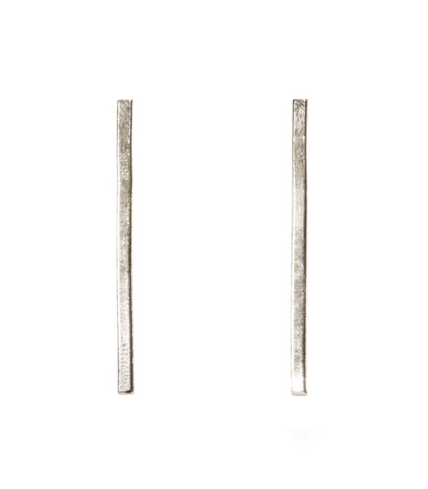 Handcrafted Silver Vertical Bar Earrings
