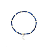 Semi-precious Lapis Stone with moon charm on friendship bracelets