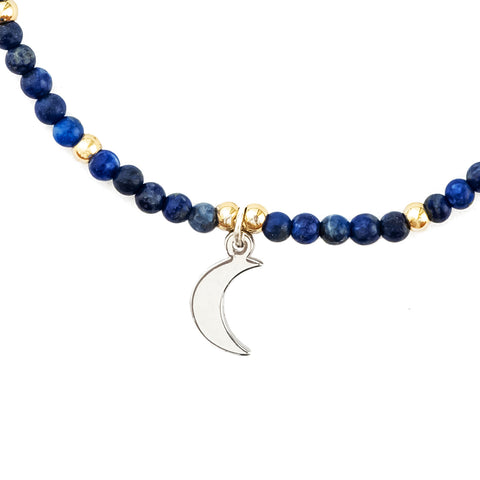 close up of Moon and Lapis semi-precious stone friendship bracelets
