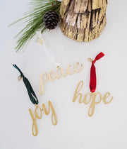 Peace, Hope and Joy brass ornaments ethically handcrafted by artisans