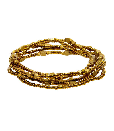 Handcrafted Brass Stacked Beaded Bracelets