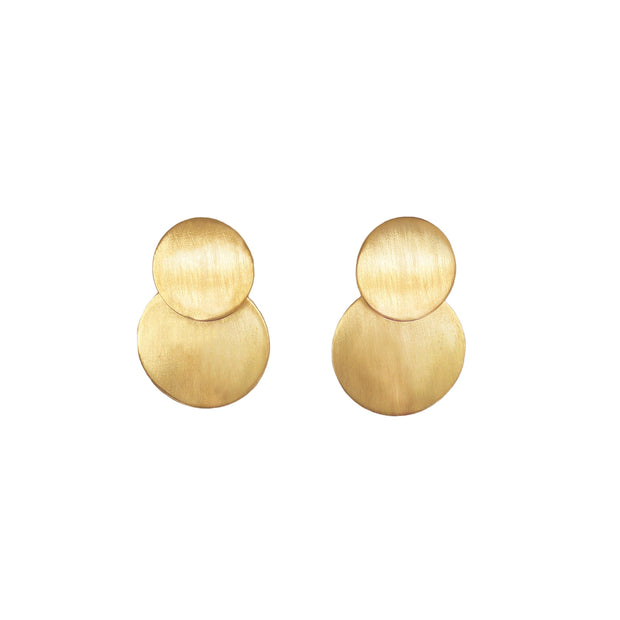 Coterie Earrings - ethically handcrafted brushed brass circle earrings that give back to non-profit and empower women escaping human trafficking