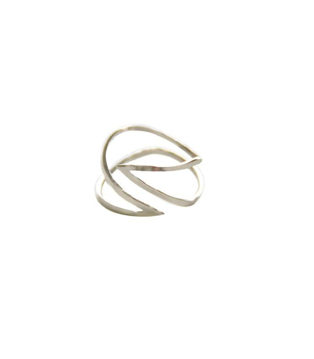 Current Ring - Ethically Handcrafted Curved Metal Ring that gives back to non-profit - International Sanctuary - fights human trafficking