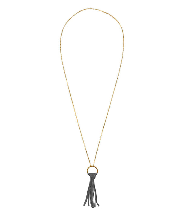 Handcrafted Brass Chain Necklace with Grey Tassel