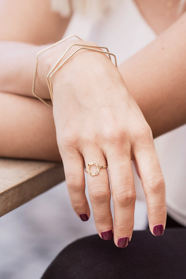 Handcrafted 14K Gold Hexagon Bangles