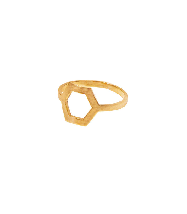 Handcrafted 14K Gold Hexagon Ring