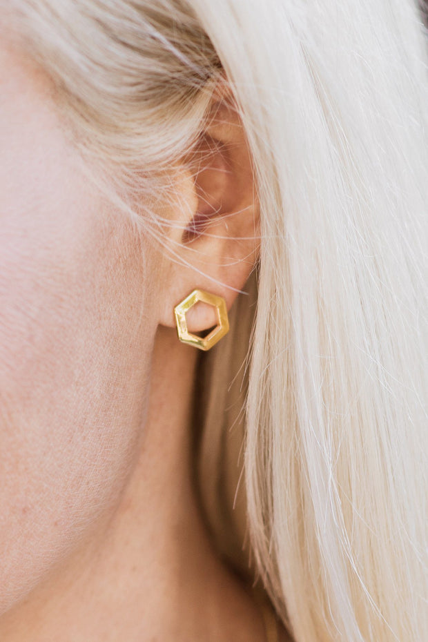 Handcrafted 14K Gold Hexagon Stud Earrings