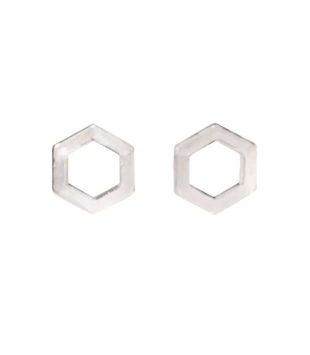 Handcrafted Rhodium Hexagon Stud Earrings