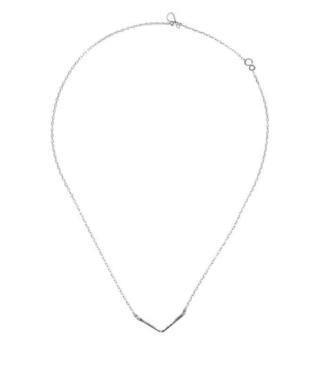 Handcrafted Rhodium Short Chevron Necklace