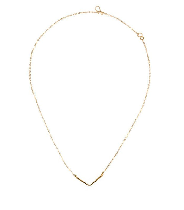 Handcrafted 14K Gold Short Chevron Necklace