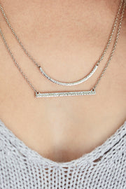 Handcrafted Silver Crescent and Bar Layered Necklace