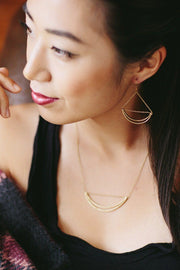 Handcrafted Brass Crescent Shaped Hoop Earrings