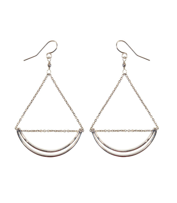 Handcrafted Silver Crescent Shaped Hoop Earrings