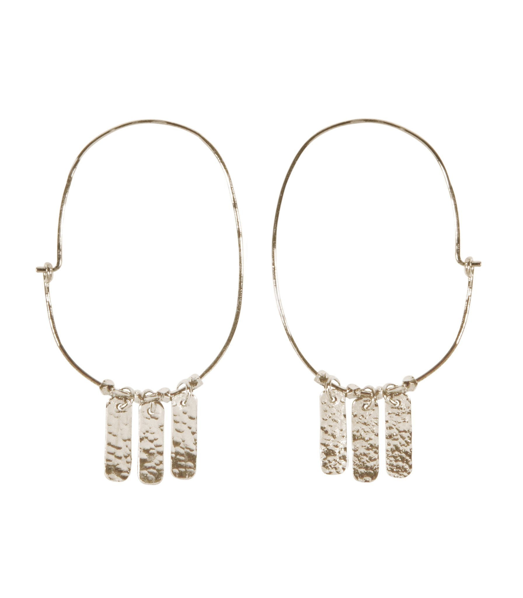 Handcrafted Silver Oval Drop Earrings with Hammered Fringe