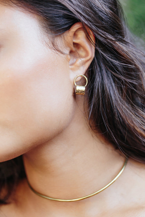 Handcrafted Hammered Brass Drop Earrings