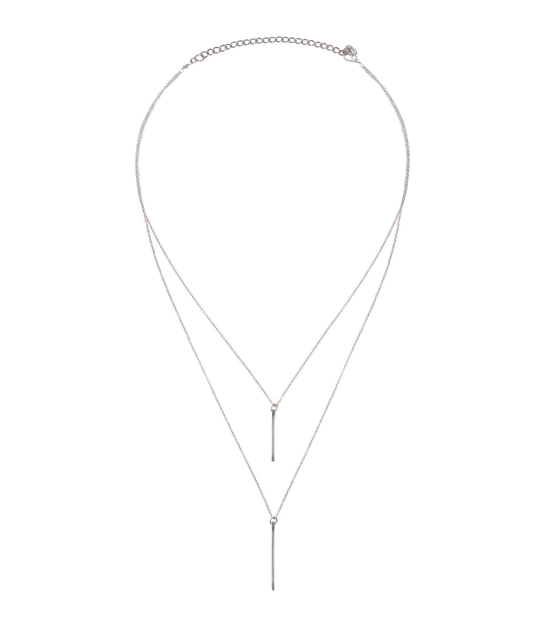 Handcrafted Rhodium Bar Layered Necklace