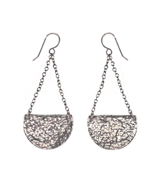 Handcrafted Hammered Silver Crescent Earrings