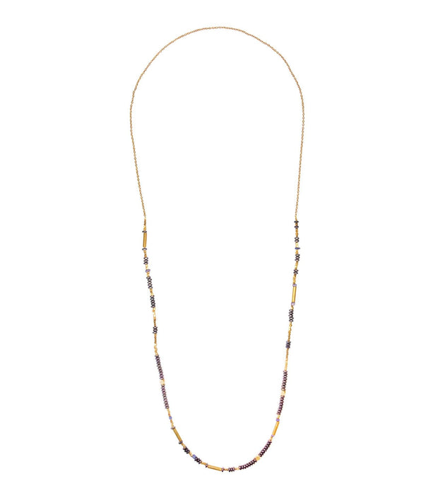Handcrafted Long Blue and Gold Necklace