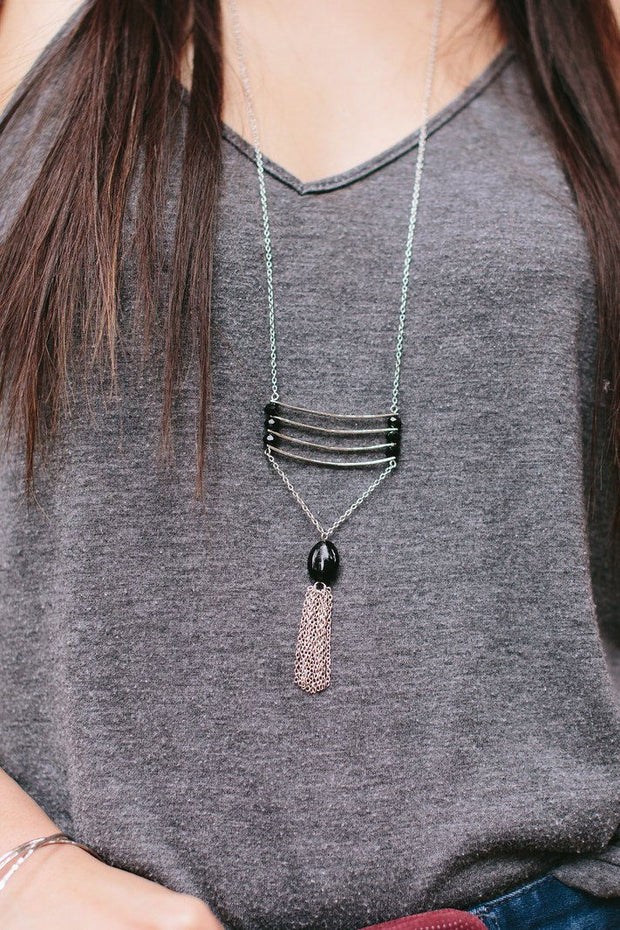 Handcrafted Silver and Black Long Necklace