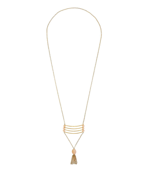 Handcrafted Brass and Blush Long Necklace
