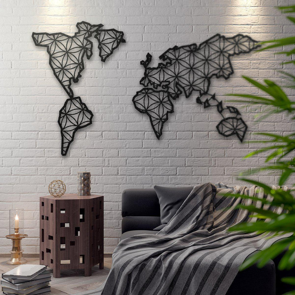 """Cultured + Bloomed"" Map of the World Metal Nordic Style Wall Map"