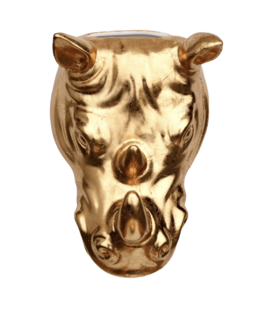 Rhino + Golden: Gilded Rhino Wall Planter and Garden Decor