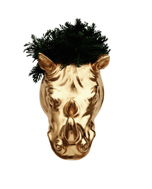 Load image into Gallery viewer, Rhino + Golden: Gilded Rhino Wall Planter and Garden Decor