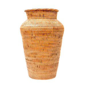 """The Tropics"" Handwoven Natural Handmade Rattan Accent Vase"