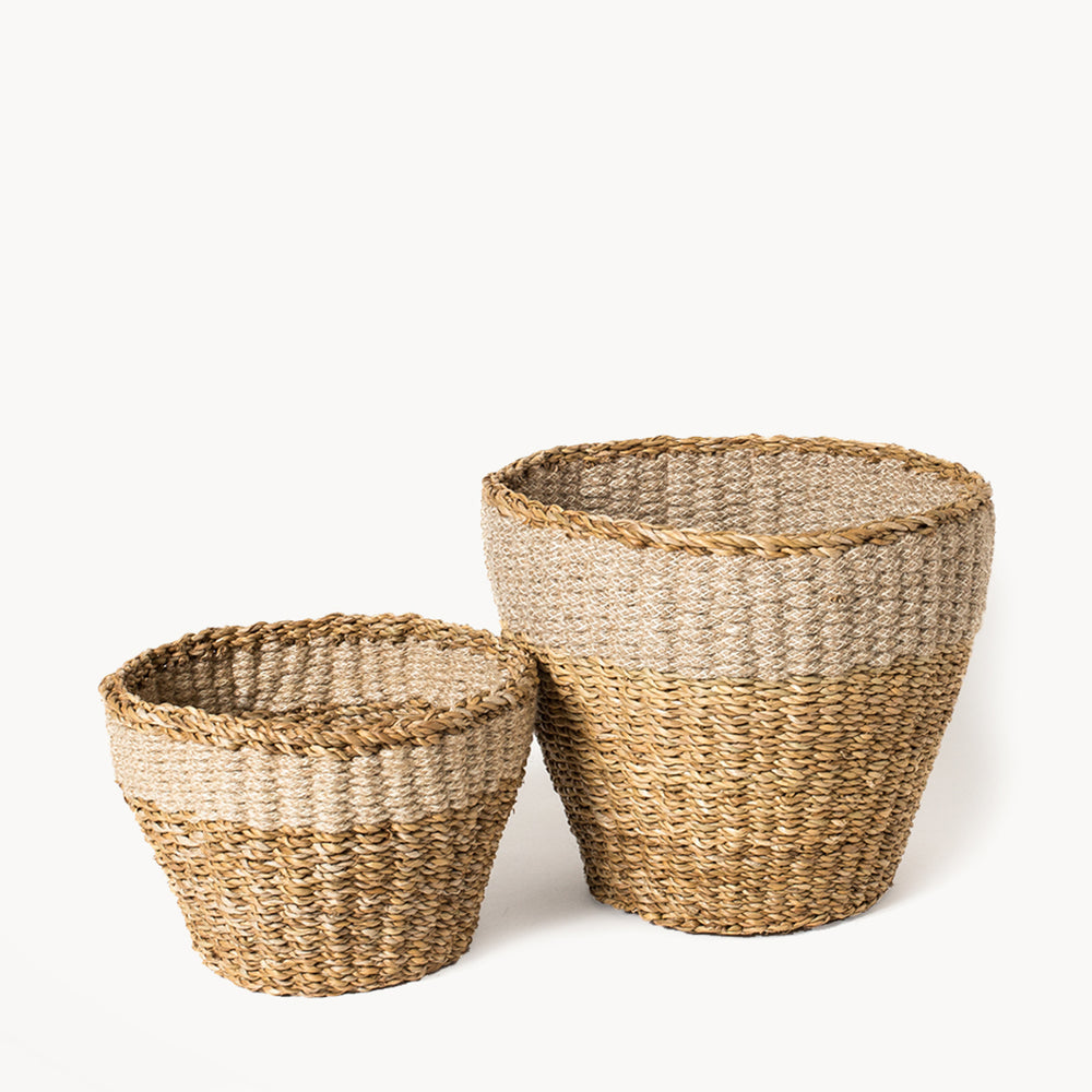 Buy online Set of planters are perfect for your indoor spaces -  Handwoven Natural Savar Planter - Culture+Bloom