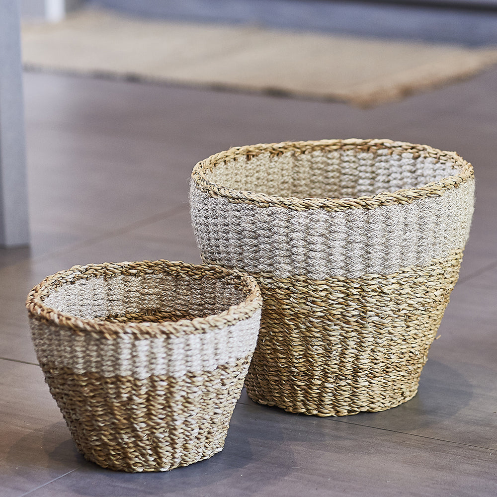 Handwoven Natural Savar Planter (Set of 2)