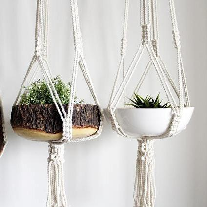 Macrame + Modern Plant Hanger and Plant Holder