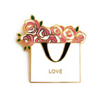 "Shop online ""Flower Love"" Enamel Lapel Pin -  Home & Garden Decors 