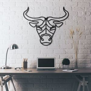 """The Bull"" Hanging Taurus Living Room and Bedroom Metal Wall Art"