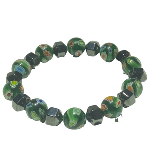 Venetian Glass Bead Bracelet - Green