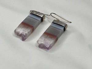 Handmade Amethyst Stalactite On Silver Earrings