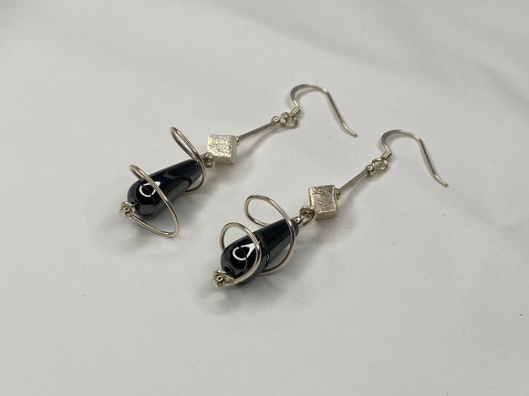 Handmade Tuxedo Agate With Silver Earrings