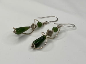 Handmade Jade And Silver Earrings