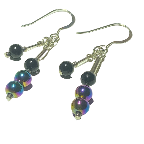 Handmade Haematite on Silver Earrings