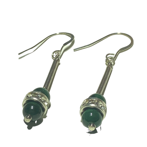 Handmade Malachite and Diamante on Silver Earrings
