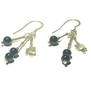 Handmade Onyx on Silver Earrings