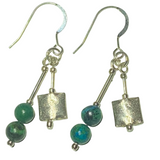 Handmade Malachite on Silver Earrings