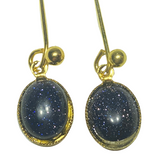 Handmade Blue Gold Stone Small Drop Earrings