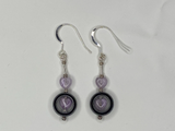 Handmade Haematite And Amethyst On Silver Earrings
