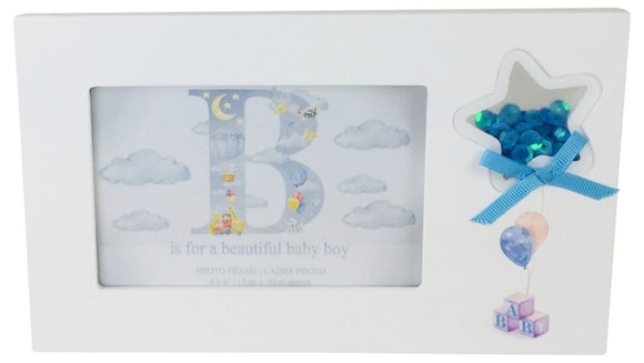 New Born Baby Boy Picture Frame With Confetti Star