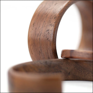 Steam bent walnut wood cuffs in different widths.