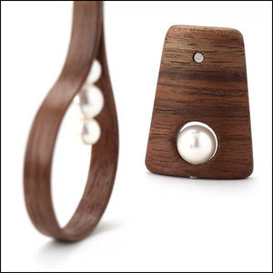 Small walnut wood post earrings with Swarovski crystal pearls.