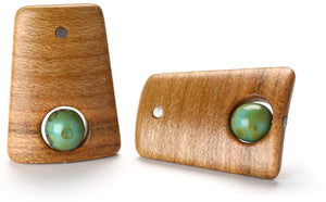 Small peach wood post earrings with painted green Czech beads.